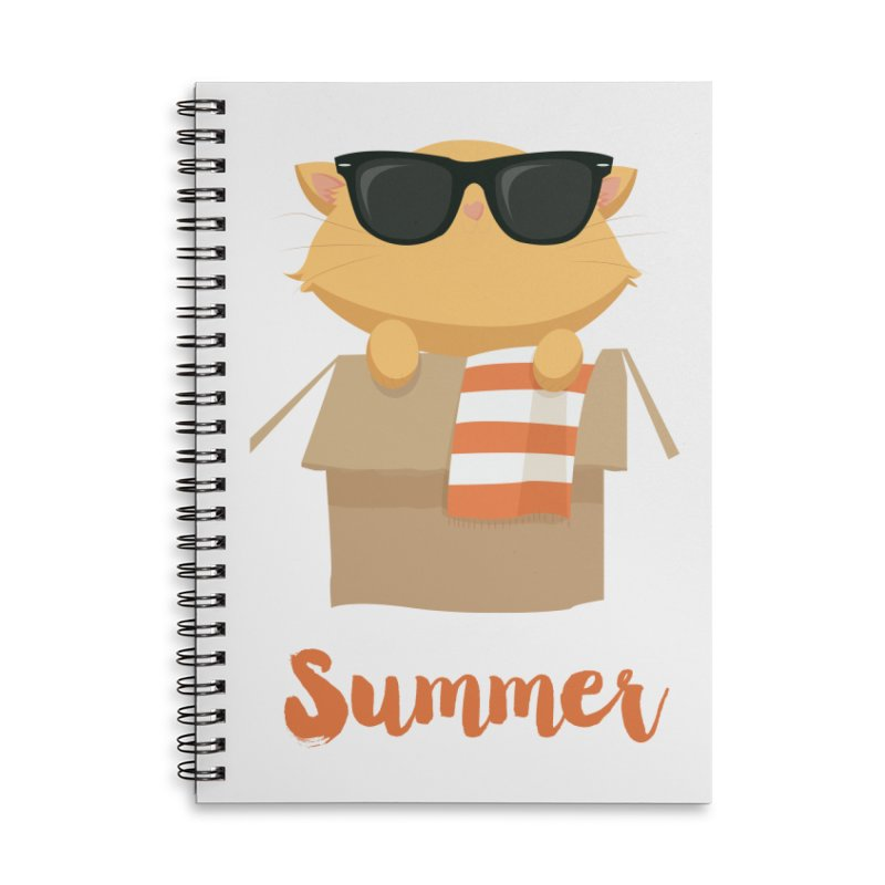 Summer Kitty Accessories Lined Spiral Notebook by Origami Studio
