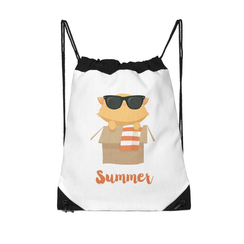 Summer Kitty Accessories Drawstring Bag Bag by Origami Studio