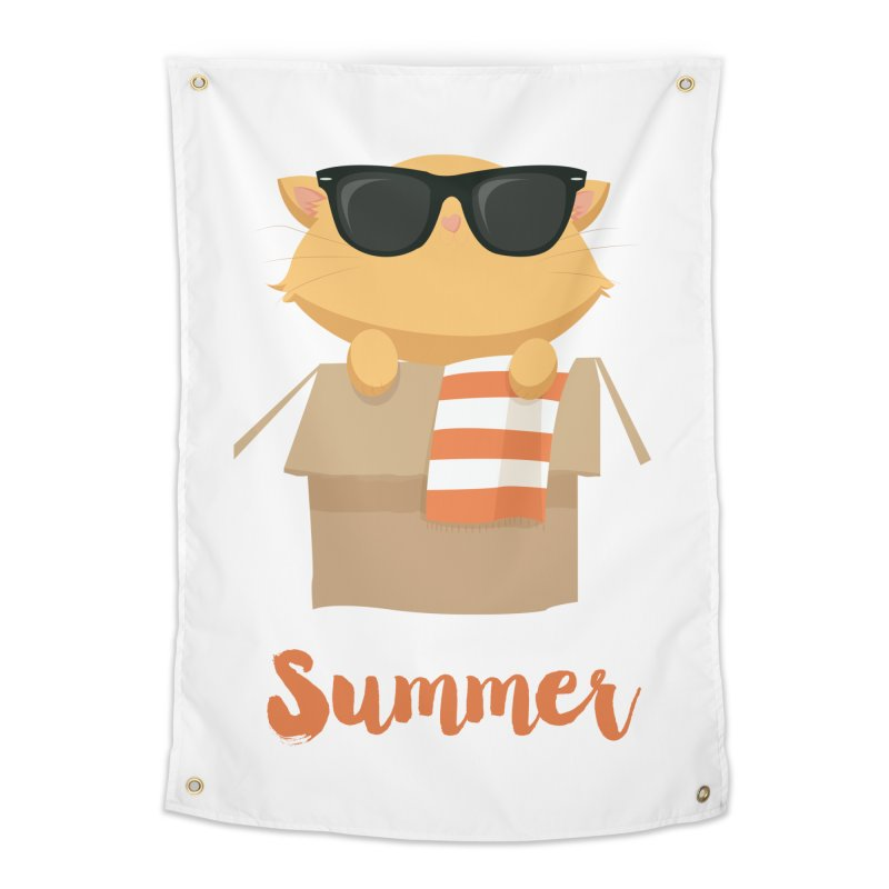 Summer Kitty Home Tapestry by Origami Studio