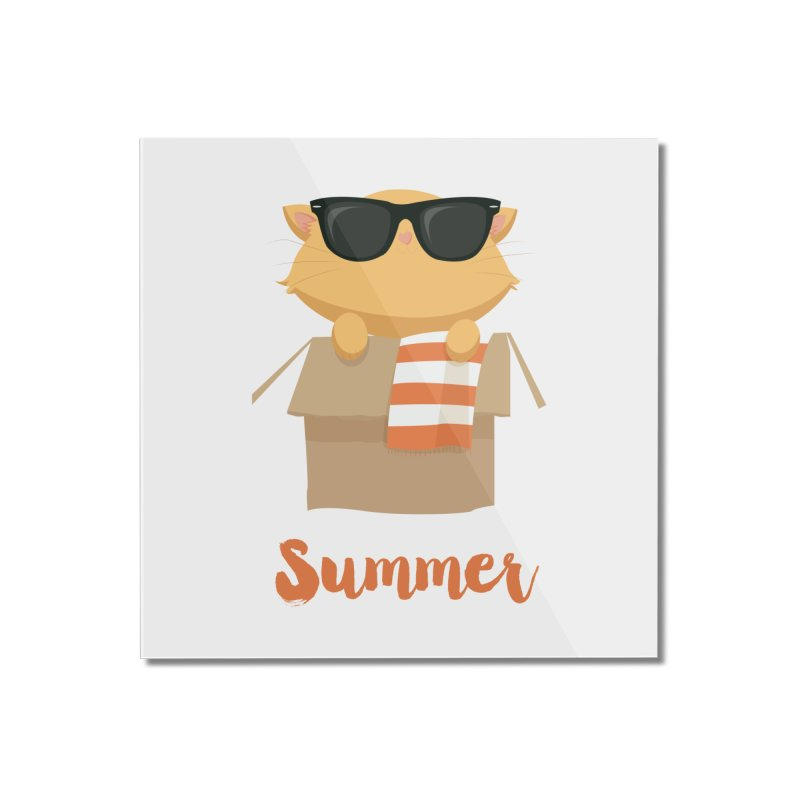 Summer Kitty Home Mounted Acrylic Print by Origami Studio
