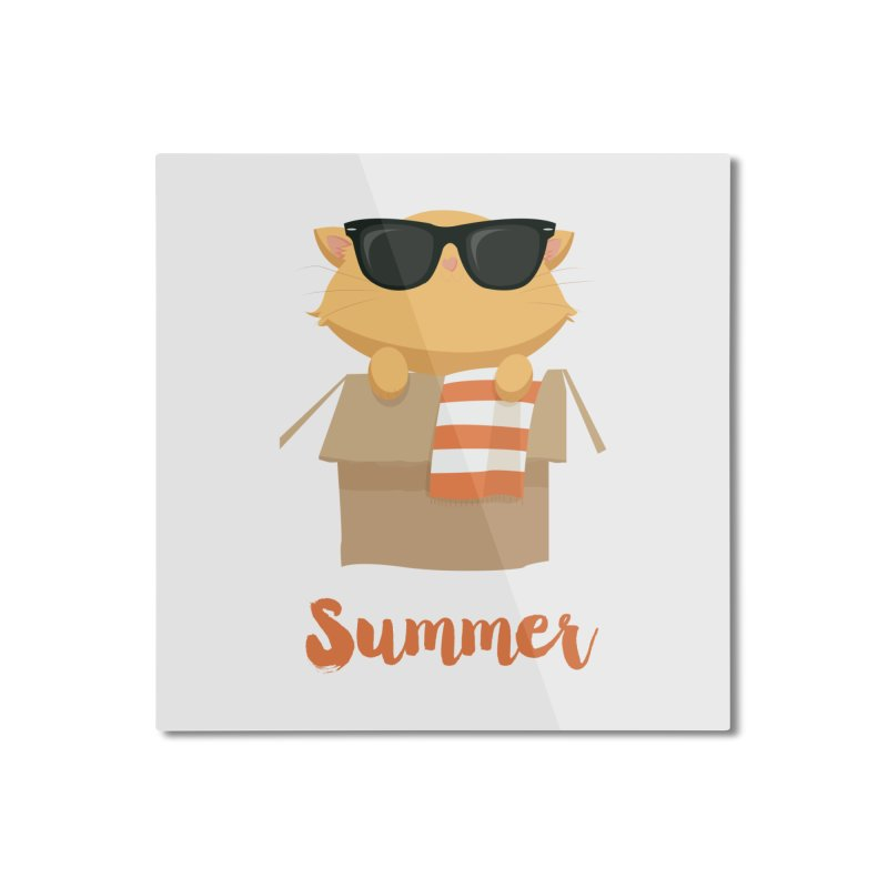 Summer Kitty Home Mounted Aluminum Print by Origami Studio