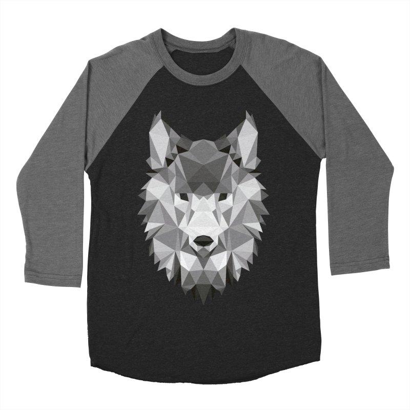 Low poly wolf Women's Baseball Triblend Longsleeve T-Shirt by Origami Studio