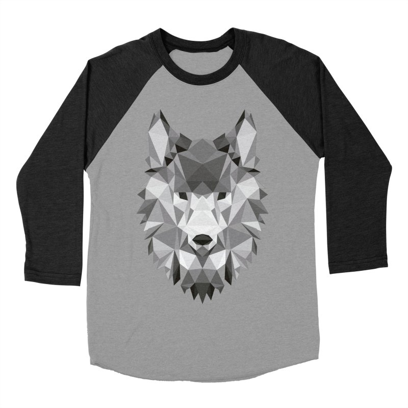 Low poly wolf Women's Baseball Triblend Longsleeve T-Shirt by Origami Studio