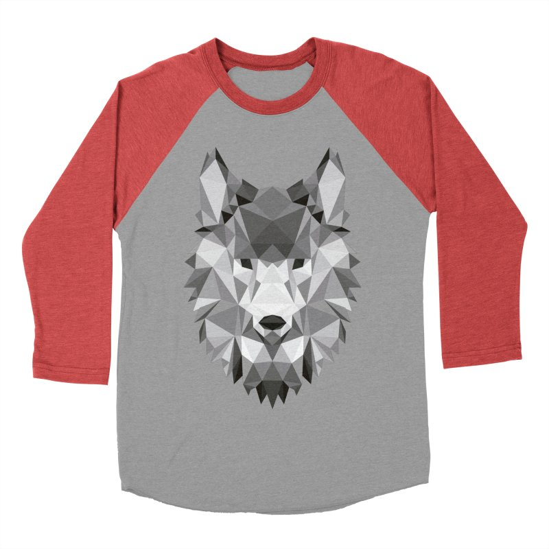 Low poly wolf Men's Baseball Triblend Longsleeve T-Shirt by Origami Studio