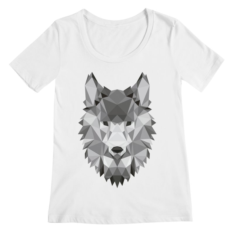Low poly wolf Women's Regular Scoop Neck by Origami Studio