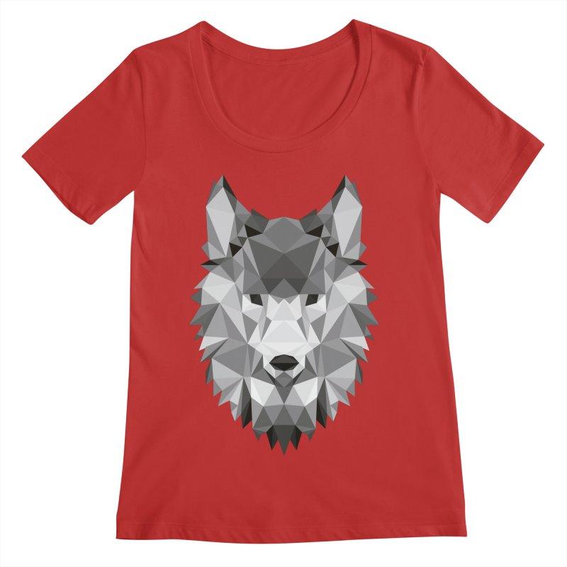 Low poly wolf Women's Regular Scoop Neck by Origami Studio