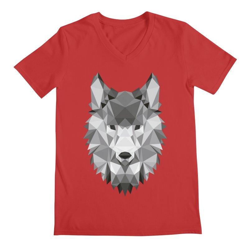 Low poly wolf Men's Regular V-Neck by Origami Studio