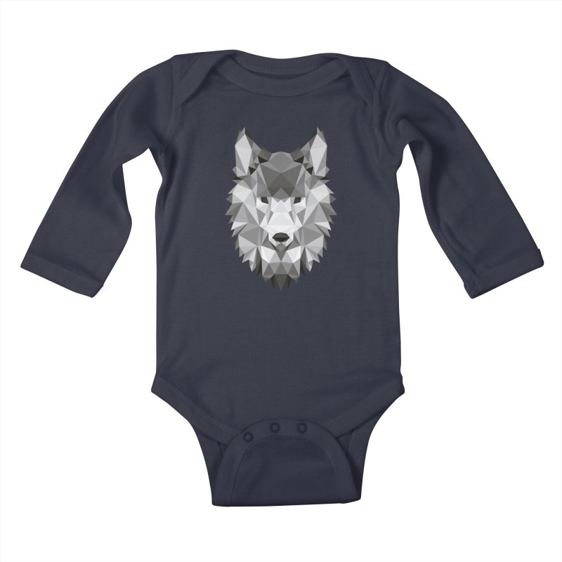 Low poly wolf Kids Baby Longsleeve Bodysuit by Origami Studio
