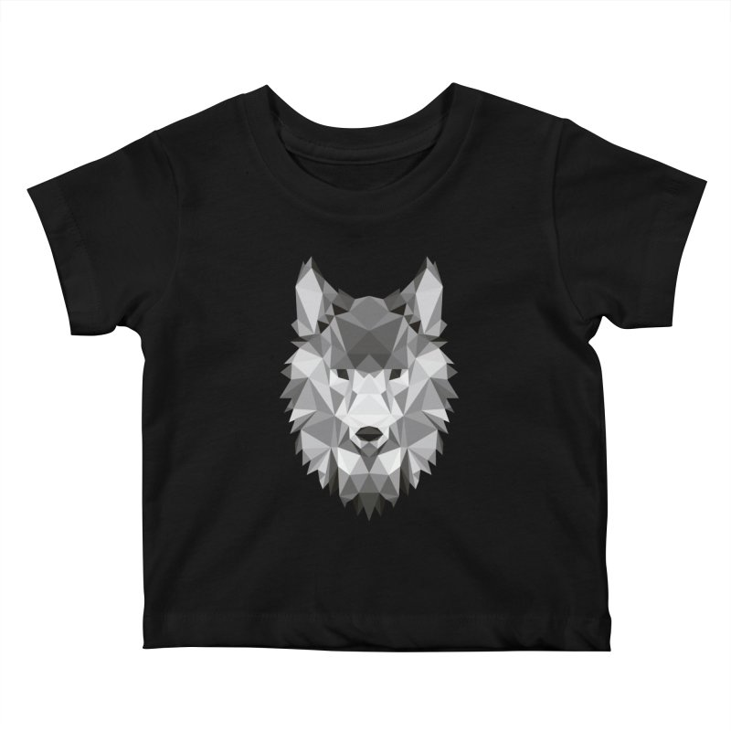 Low poly wolf Kids Baby T-Shirt by Origami Studio