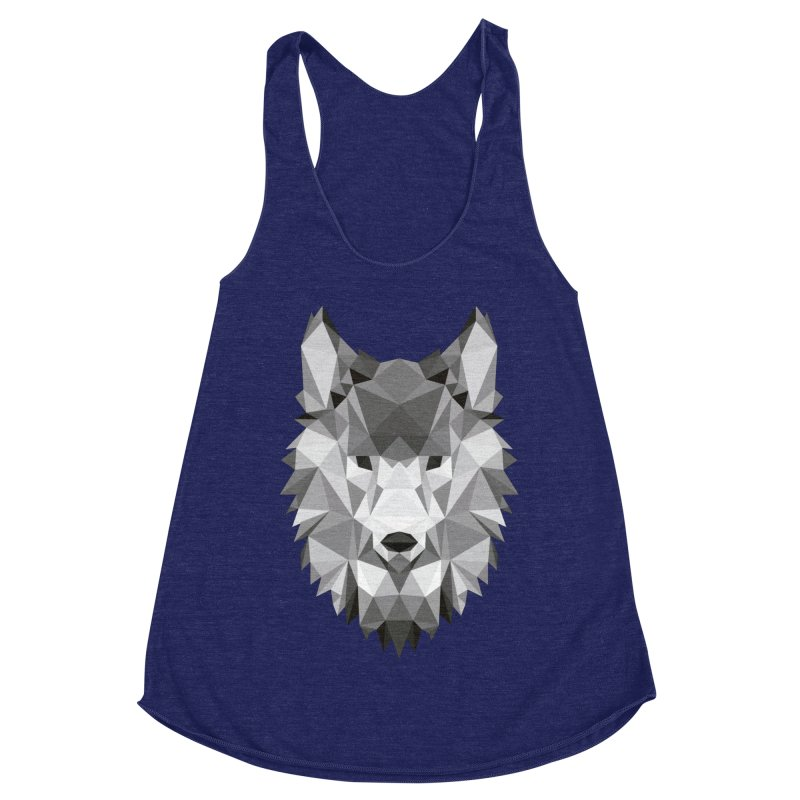 Low poly wolf Women's Racerback Triblend Tank by Origami Studio