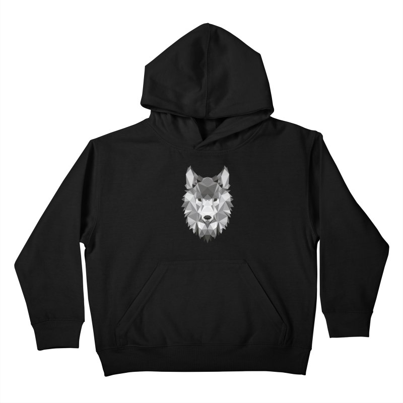 Low poly wolf Kids Pullover Hoody by Origami Studio