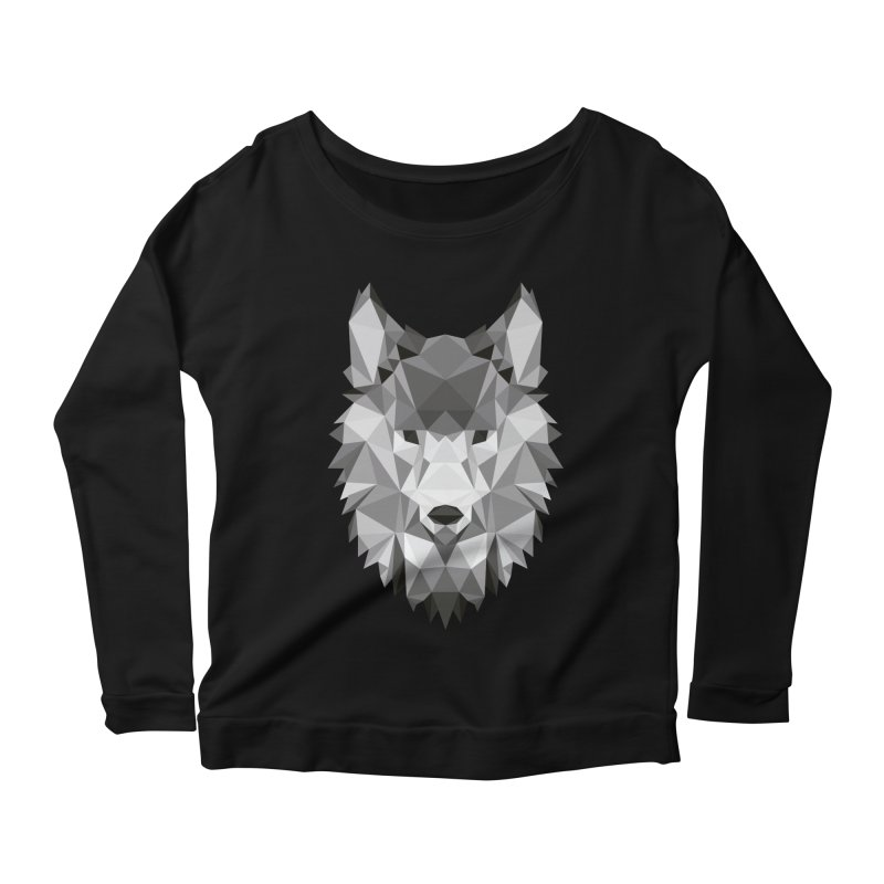 Low poly wolf Women's Scoop Neck Longsleeve T-Shirt by Origami Studio