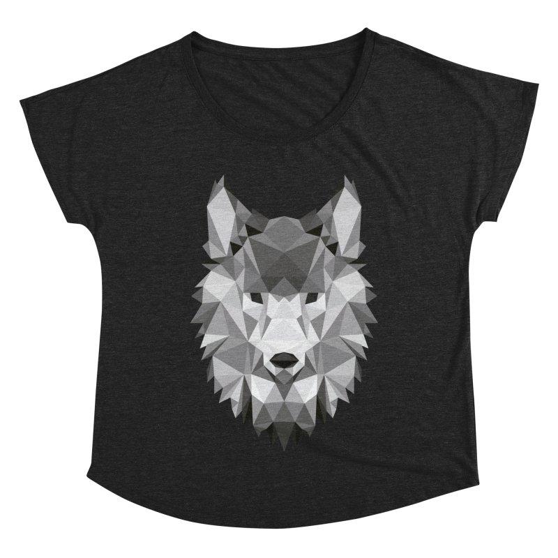 Low poly wolf Women's Dolman Scoop Neck by Origami Studio