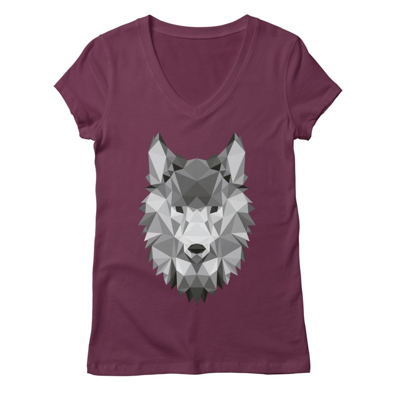 Low poly wolf Women's Regular V-Neck by Origami Studio