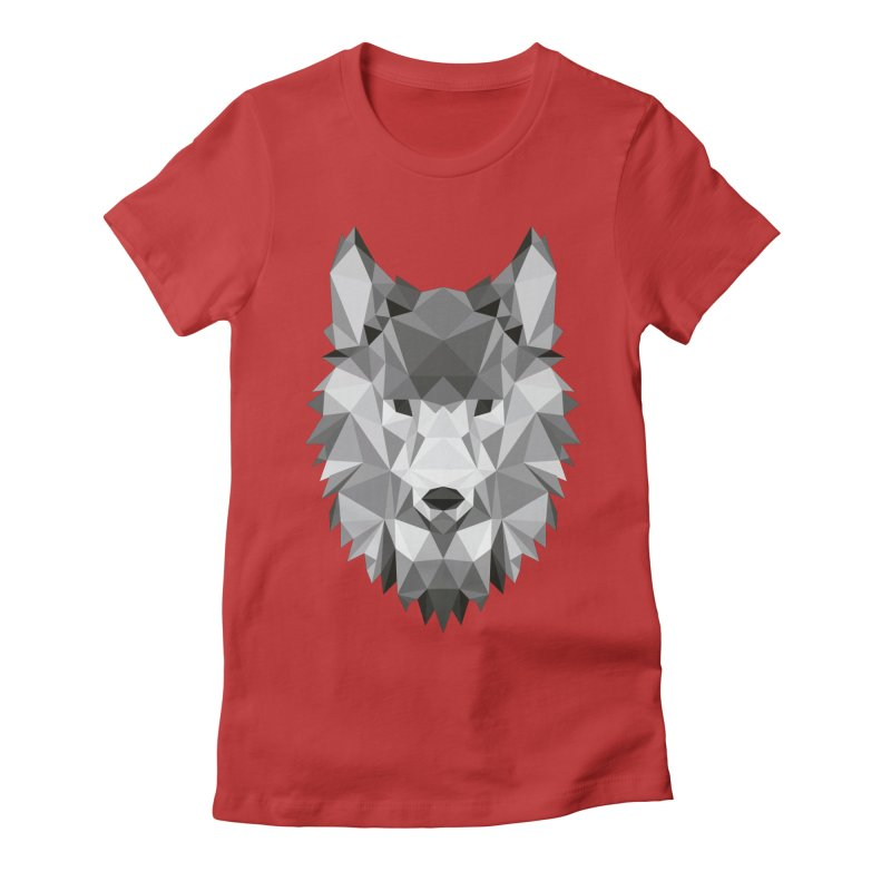 Low poly wolf Women's Fitted T-Shirt by Origami Studio