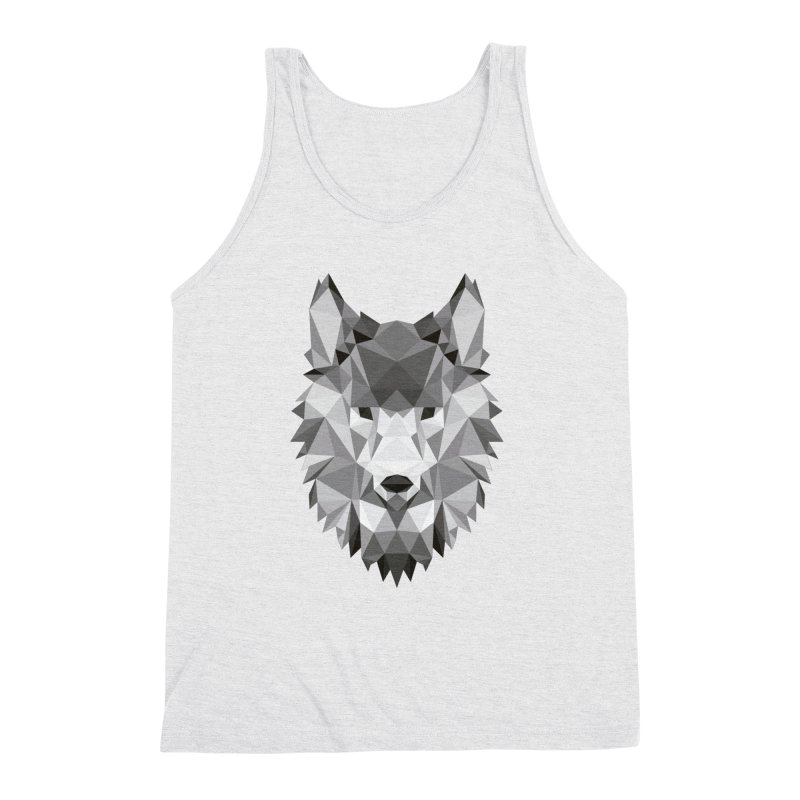 Low poly wolf Men's Triblend Tank by Origami Studio