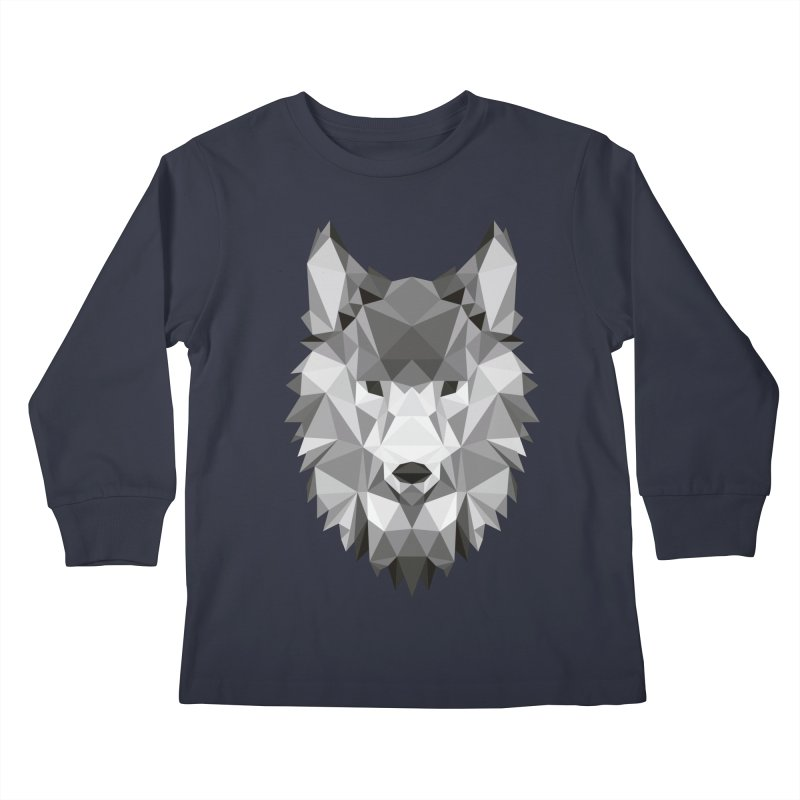 Low poly wolf Kids Longsleeve T-Shirt by Origami Studio
