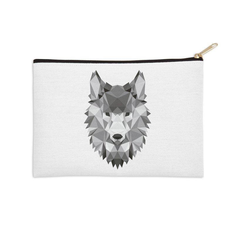 Low poly wolf Accessories Zip Pouch by Origami Studio