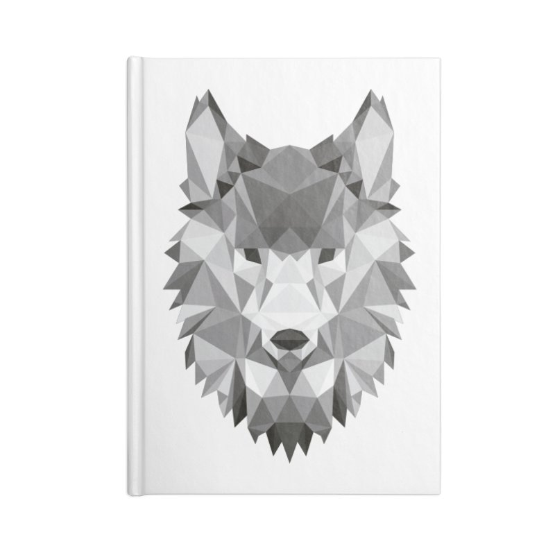 Low poly wolf Accessories Lined Journal Notebook by Origami Studio