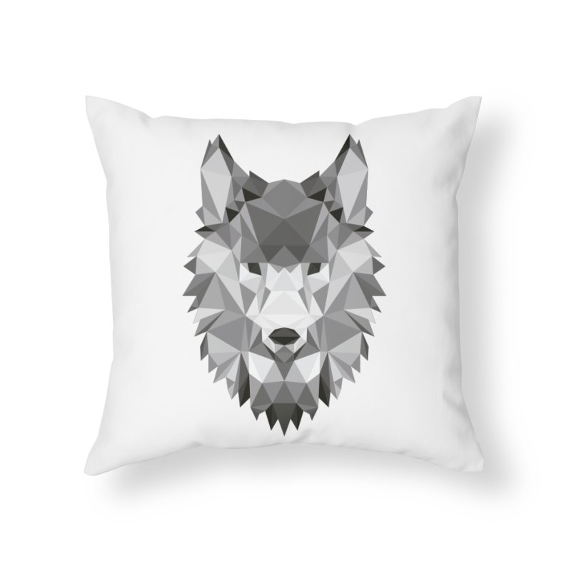 Low poly wolf Home Throw Pillow by Origami Studio