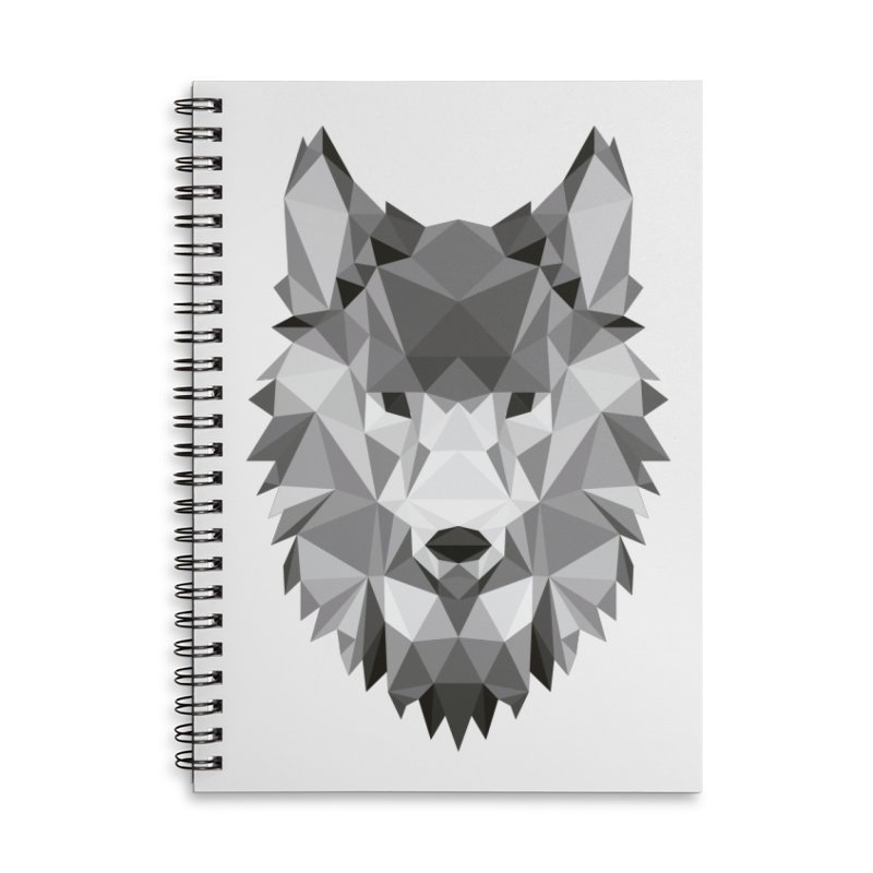 Low poly wolf Accessories Lined Spiral Notebook by Origami Studio