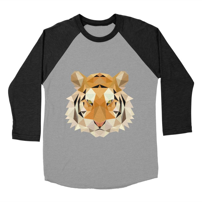 Low poly tiger Women's Baseball Triblend Longsleeve T-Shirt by Origami Studio