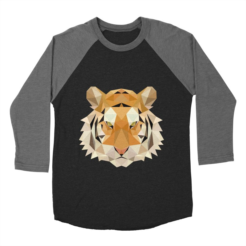 Low poly tiger Men's Baseball Triblend Longsleeve T-Shirt by Origami Studio