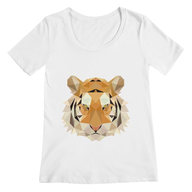 Low poly tiger Women's Regular Scoop Neck by Origami Studio