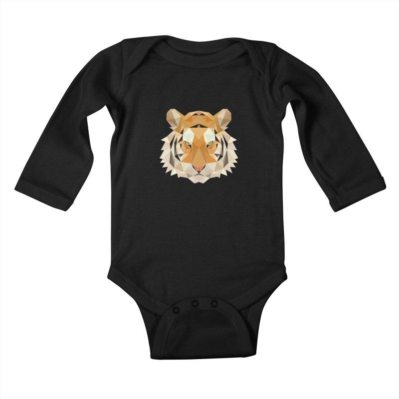 Low poly tiger Kids Baby Longsleeve Bodysuit by Origami Studio