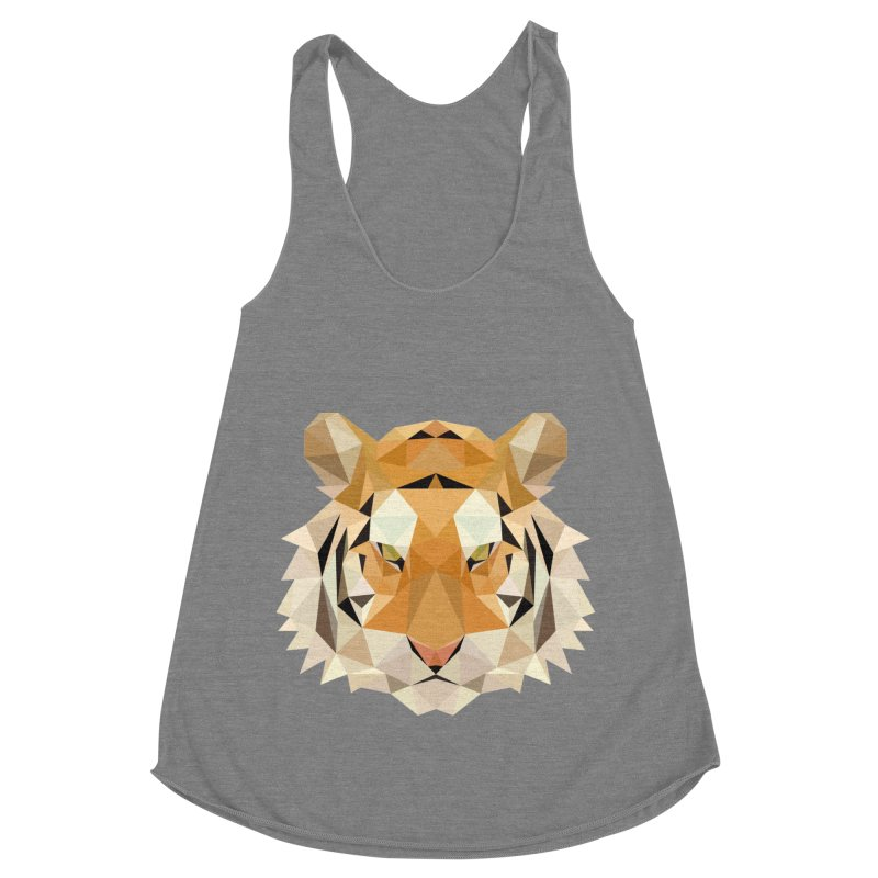 Low poly tiger Women's Racerback Triblend Tank by Origami Studio