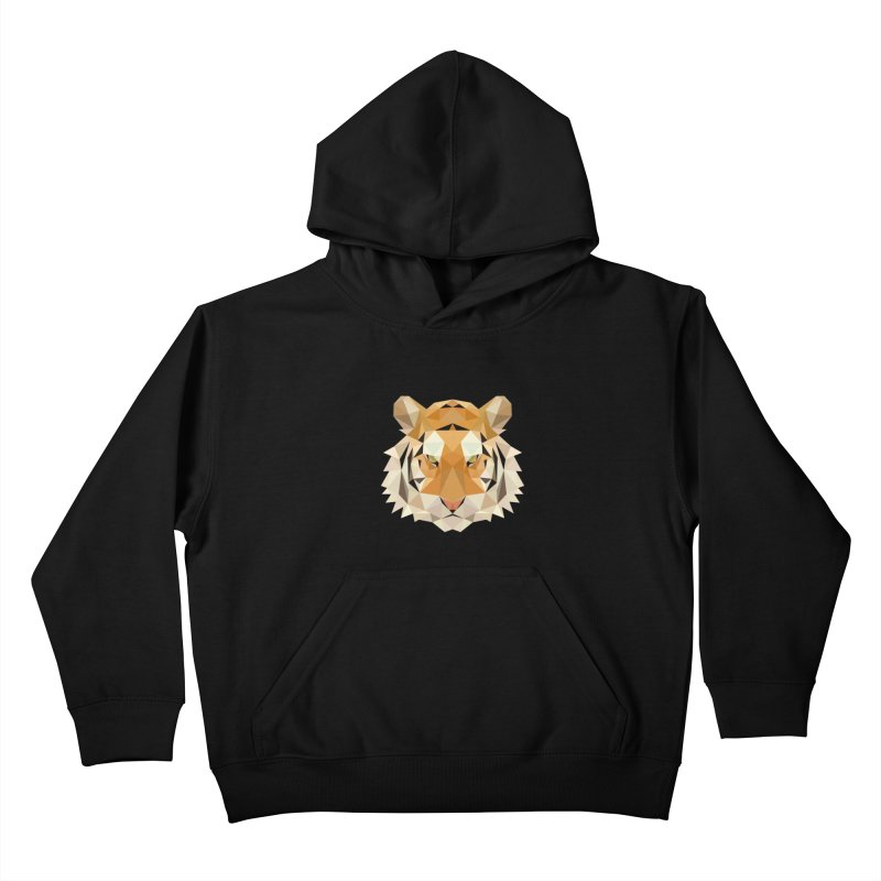 Low poly tiger Kids Pullover Hoody by Origami Studio