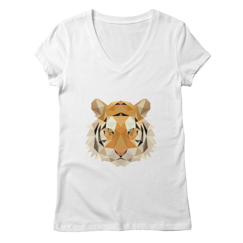 Low poly tiger Women's V-Neck by Origami Studio