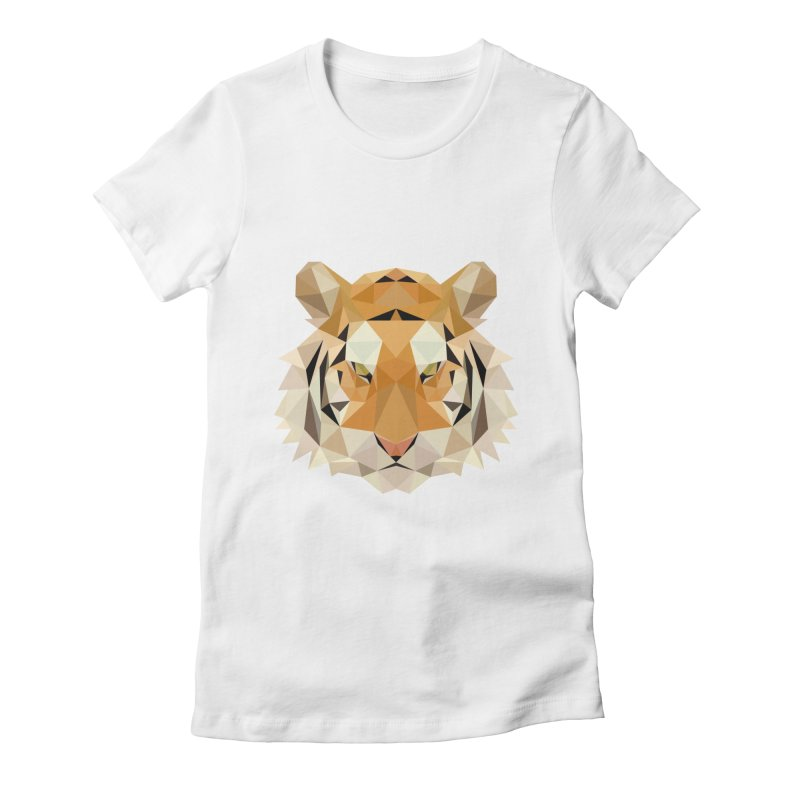 Low poly tiger Women's Fitted T-Shirt by Origami Studio