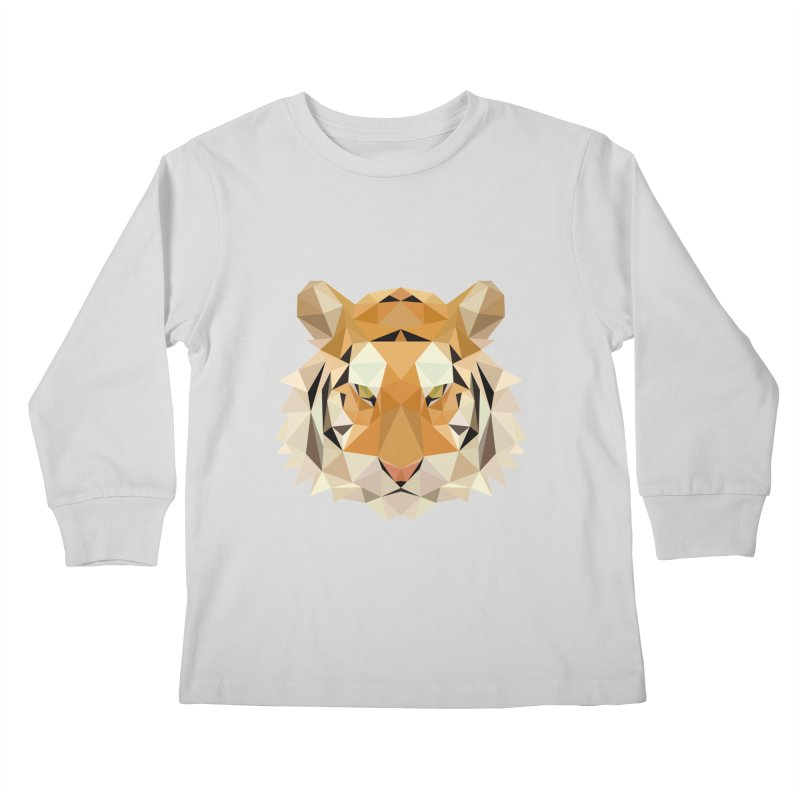 Low poly tiger Kids Longsleeve T-Shirt by Origami Studio