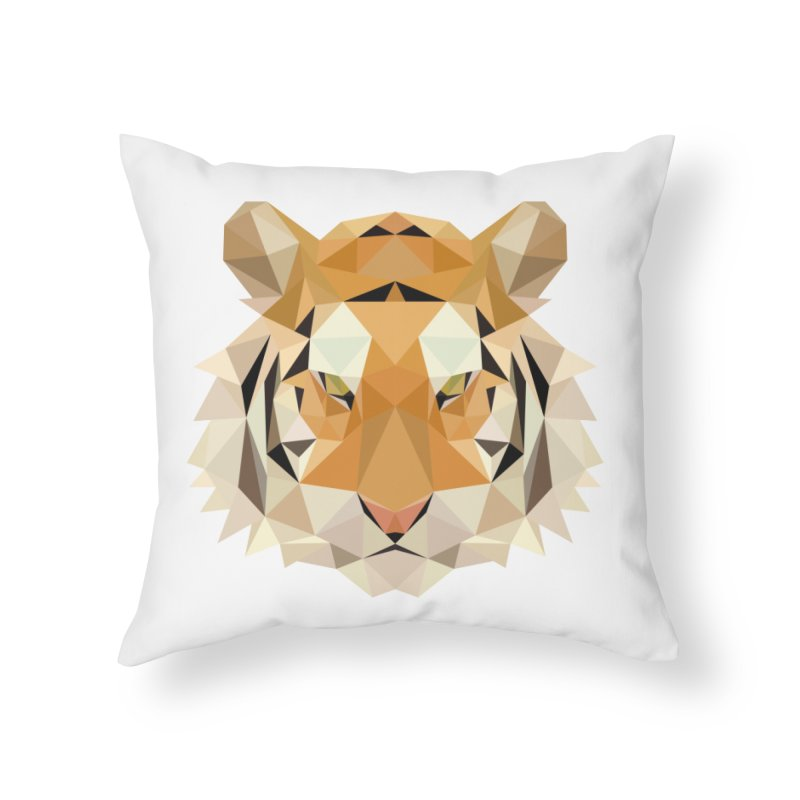 Low poly tiger Home Throw Pillow by Origami Studio