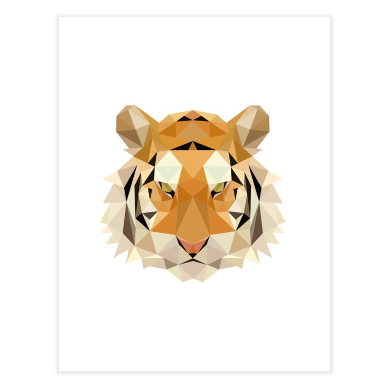 Low poly tiger Home Fine Art Print by Origami Studio