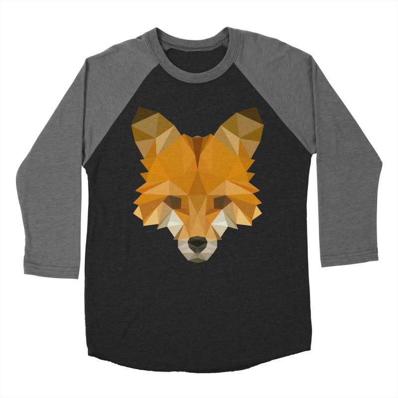 Low poly fox Women's Baseball Triblend Longsleeve T-Shirt by Origami Studio