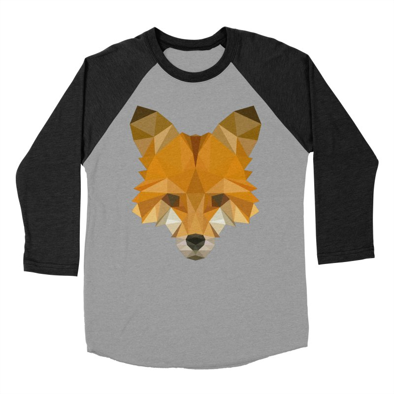 Low poly fox Women's Baseball Triblend Longsleeve T-Shirt by Origami Studio