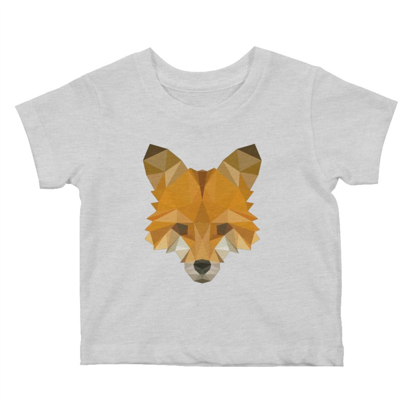 Low poly fox Kids Baby T-Shirt by Origami Studio