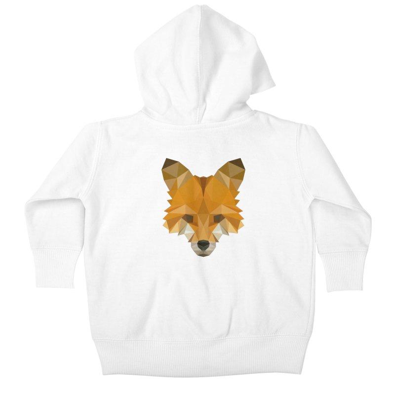 Low poly fox Kids Baby Zip-Up Hoody by Origami Studio