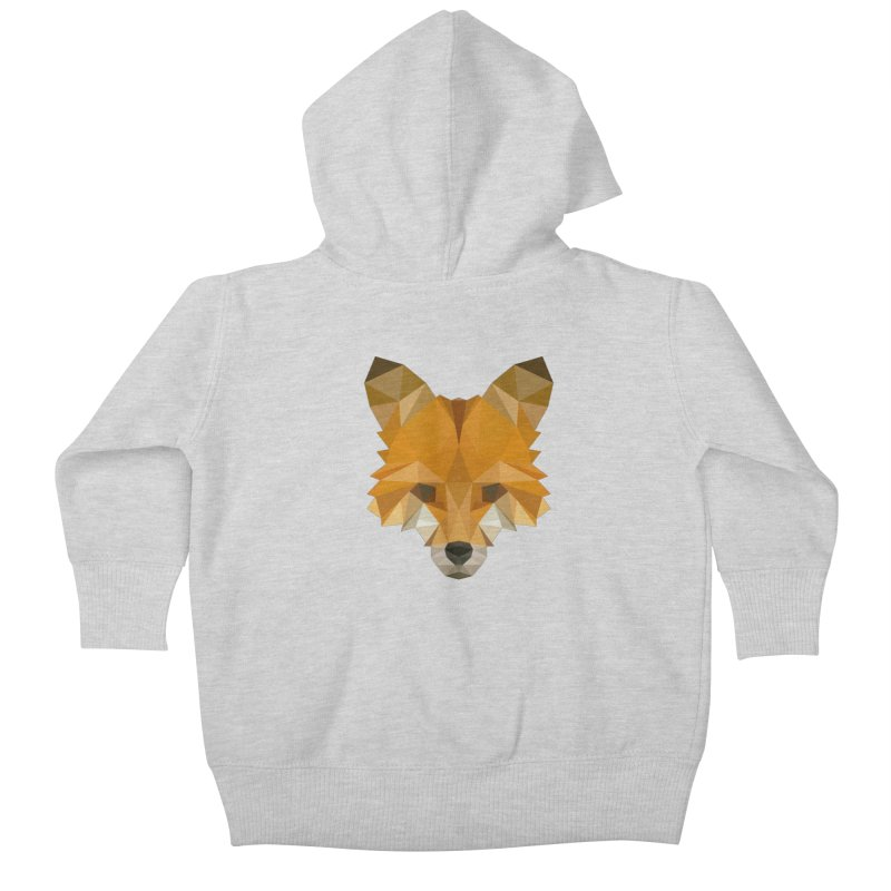 Low poly fox Kids Baby Zip-Up Hoody by Origami Studio