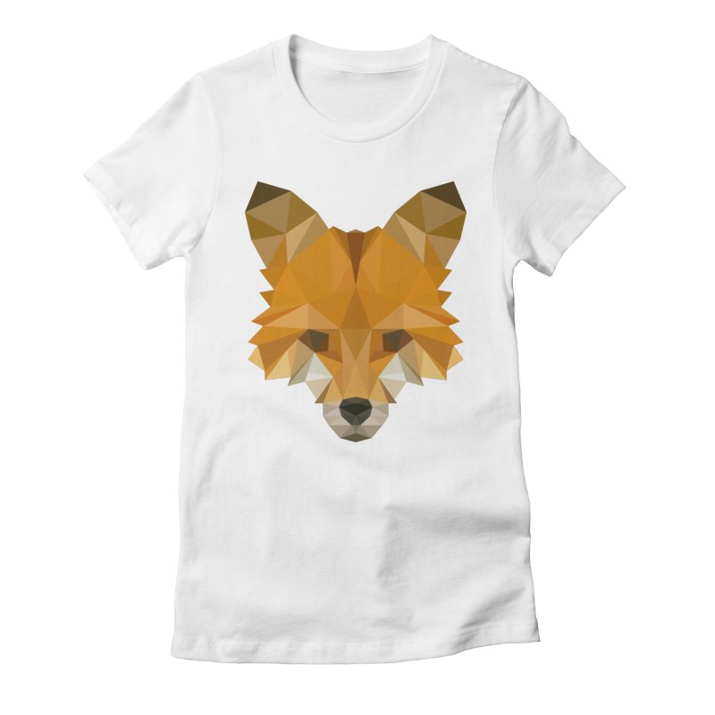 Low poly fox Women's Fitted T-Shirt by Origami Studio