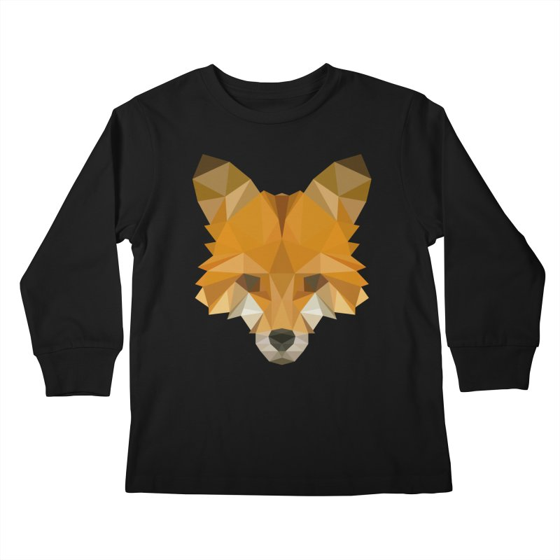 Low poly fox Kids Longsleeve T-Shirt by Origami Studio