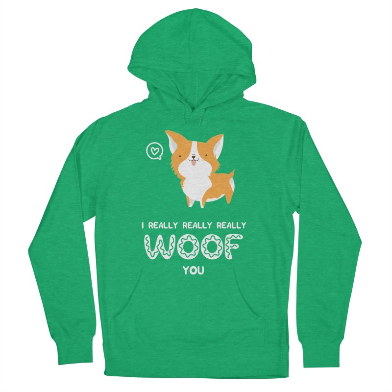 Corgi love Women's French Terry Pullover Hoody by Origami Studio