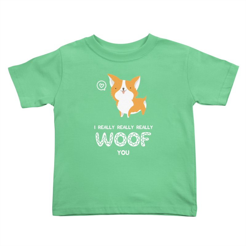 Corgi love Kids Toddler T-Shirt by Origami Studio