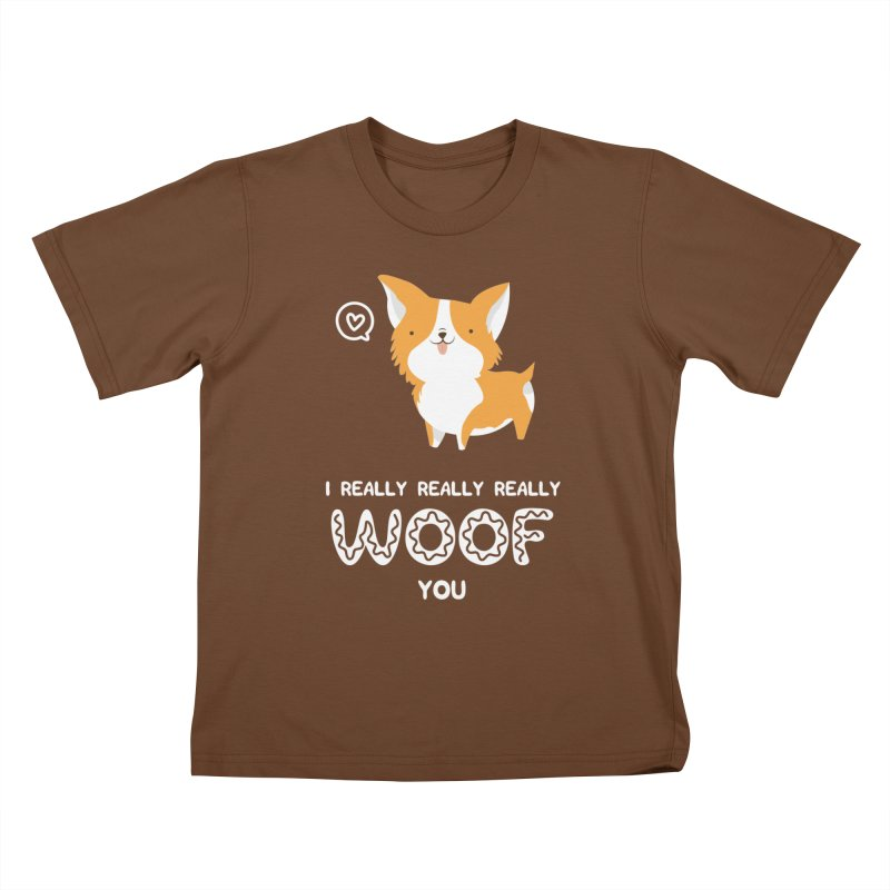Corgi love Kids T-Shirt by Origami Studio