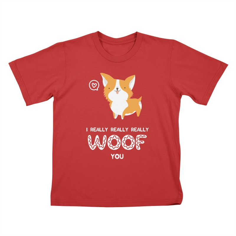 Corgi love Kids T-Shirt by Origami Studio