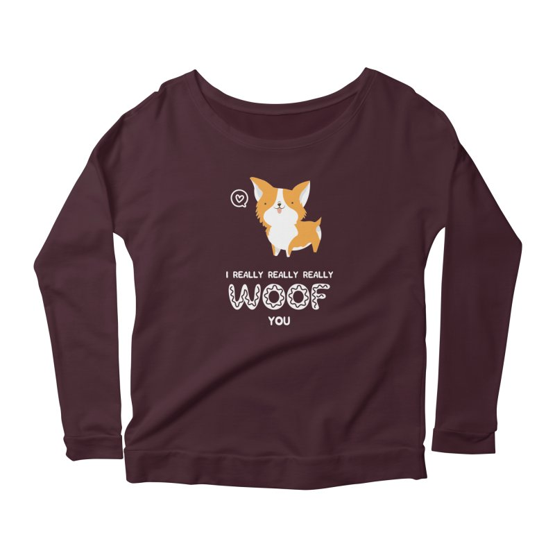 Corgi love Women's Scoop Neck Longsleeve T-Shirt by Origami Studio