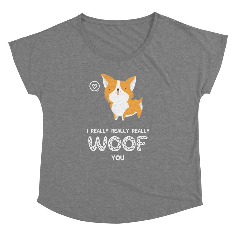 Corgi love Women's Dolman Scoop Neck by Origami Studio