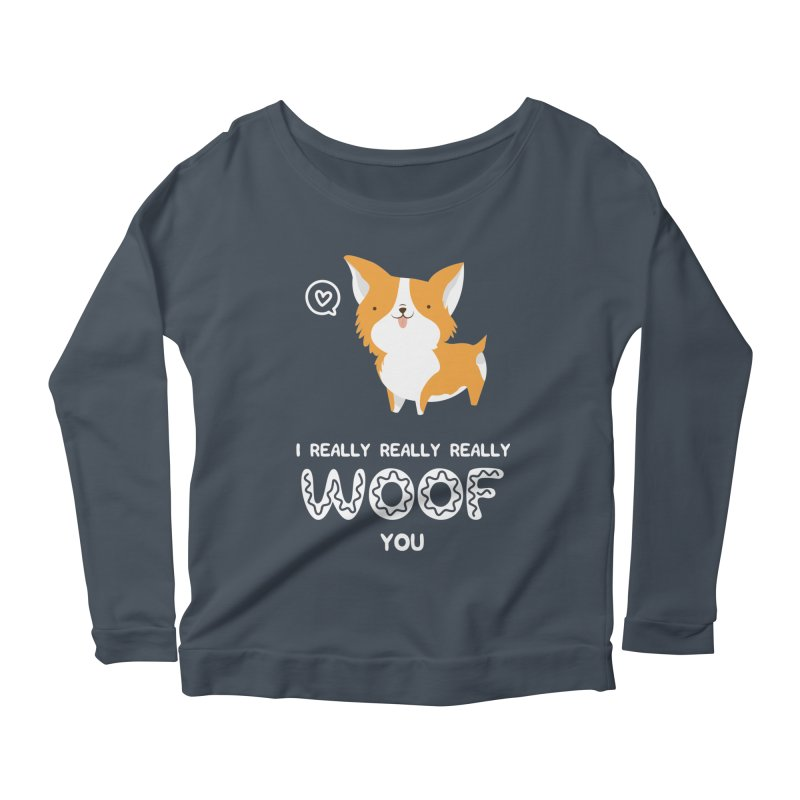 Corgi love Women's Scoop Neck Longsleeve T-Shirt by Origami Studio
